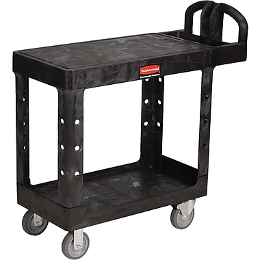 Rubbermaid® 33 1/3in.H Black Commercial Flat Shelf Utility Carts
