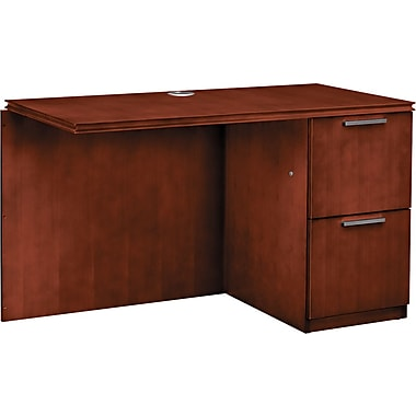 HON® Arrive™ Right Return For Single Left Pedestal Desk, 29 1/2in.H x 48in.W x 24in.D, Henna Cherry