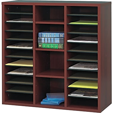 Safco  Apres Laminated Compressed Wood Literature Organizer, 29 3/4in.H x 29 3/4in.W, Mahogany