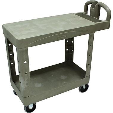 Rubbermaid® 33 1/3in.(H) x 19 3/16in.(W) x 37 7/8in.(D) Commercial Flat Shelf Utility Cart, Beige