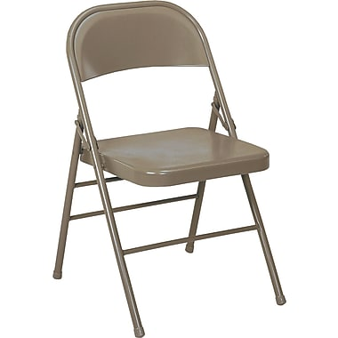 Bridgeport All Steel Folding Chair, Taupe