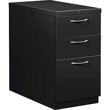 HON® Flagship® 28 7/8in.D 3 Drawer Mobile Box/Box/File Pedestal, Black, Satin Chrome Arch Pull