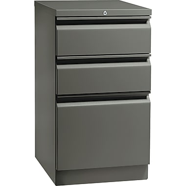 HON  Flagship  19 7/8in.D 3 Drawer Mobile Box/Box/File Pedestal, Charcoal, Full Radius Pull