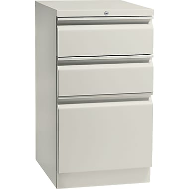 HON  Flagship  19 7/8in.D 3 Drawer Mobile Box/Box/File Pedestal, Light Gray, Full Radius Pull