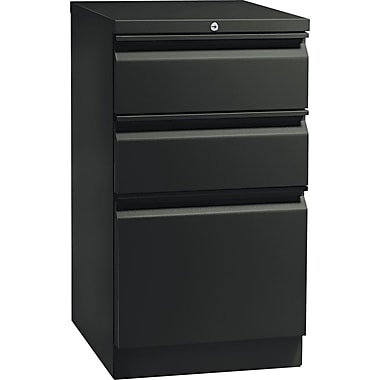 HON  Flagship  19 7/8in.D 3 Drawer Mobile Box/Box/File Pedestal, Black, Full Radius Pull