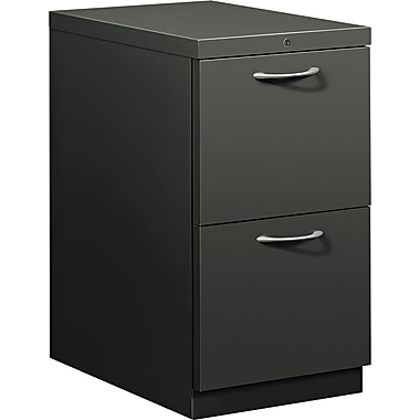HON® Flagship® 22 7/8in.D 2 Drawer Mobile File/File Pedestal, Charcoal, Satin Chrome Arch Pull