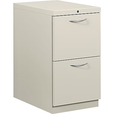 HON® Flagship® 22 7/8in.D 2 Drawer Mobile File/File Pedestal, Light Gray, Satin Chrome Arch Pull