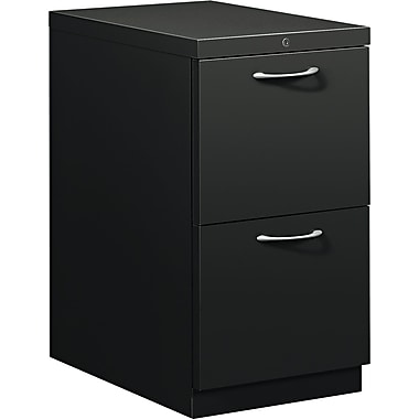 HON® Flagship® 22 7/8in.D 2 Drawer Mobile File/File Pedestal, Black, Satin Chrome Arch Pull