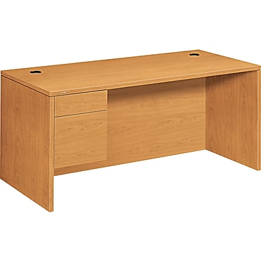 HON ® 10500 Woodgrain Laminate Base Left Single Pedestal Desk, 29 1/2in.H x 66in.W x 30in.D, Harvest