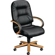 HON High-Back Genuine Leather/Memory Foam Executive Chair, Fixed Arm, Black