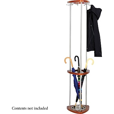 Safco ® Wood Stand Alone Costumer With Umbrella Stand, Cherry