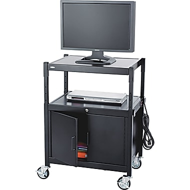 Safco® 42in.H x 26 3/4in.W x 20 1/2in.D AV Adjustable Cart With Cabinet, Black