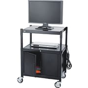 Safco® 42H x 26 3/4W x 20 1/2D AV Adjustable Cart With Cabinet, Black