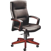HON ® 5000 Park Avenue Collection ® Executive High Back Swivel/Tilt Vinyl/Mahogany Chair, Black