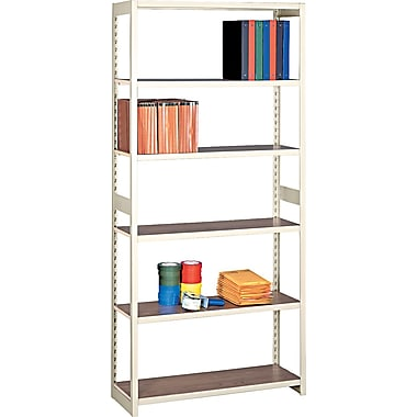 Tennsco Heavy-Duty Rolled Steel Regal Shelving Starter Set, 6 Shelves, 15in.(D)