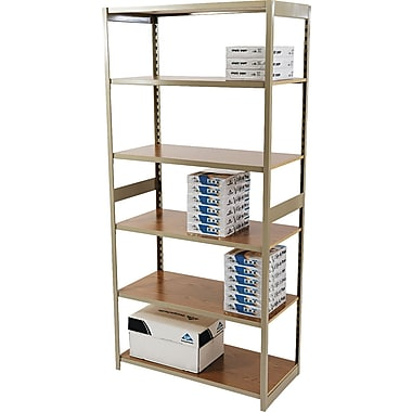 Tennsco Heavy-Duty Rolled Steel Regal Shelving Starter Set, 6 Shelves, 18in.(D)