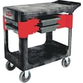Rubbermaid® 33 3/8in.(H) x 19 1/4in.(W) x 38in.(D) Commercial Two-Shelf Trades Cart, Black