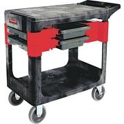 "Rubbermaid® 33 3/8""(H) x 19 1/4""(W) x 38""(D) Commercial Two-Shelf Trades Cart, Black"