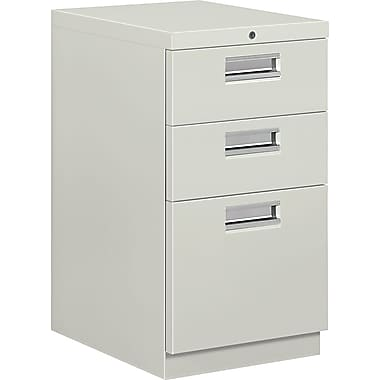 HON® Brigade® 19 7/8in.D 3 Drawer Mobile Box/Box/File Pedestal, Light Gray