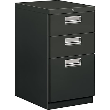 HON® Brigade® 19 7/8in.D 3 Drawer Mobile Box/Box/File Pedestal, Charcoal
