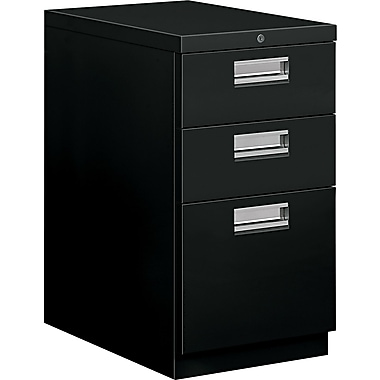 HON® Brigade® 22 7/8in.D 3 Drawer Mobile Box/Box/File Pedestal, Black