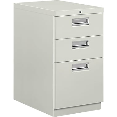 HON® Brigade® 22 7/8in.D 3 Drawer Mobile Box/Box/File Pedestal, Light Gray