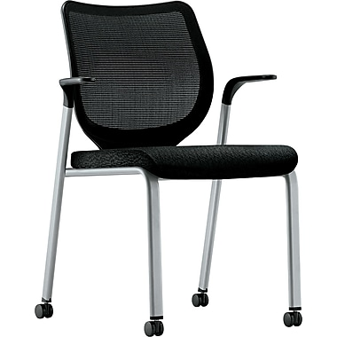 HON® Nucleus® 100% Polyester Multipurpose Stacking Chair, Black Seat, Black Base