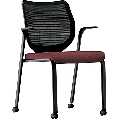 HON® Nucleus® 100% Polyester Multipurpose Stacking Chair, Wine Seat, Black Base