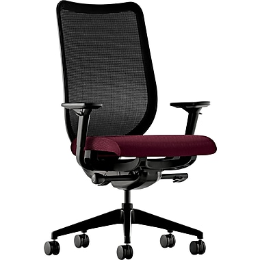 HON® Nucleus® Polyester Work Chair, Black ilira-stretch M4 Back, Wine Seat