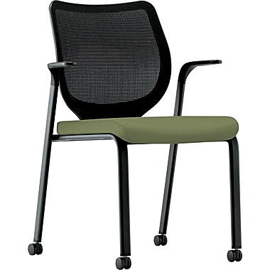HON® Nucleus® 100% Polyester Multipurpose Stacking Chair, Clover Seat, Black Base