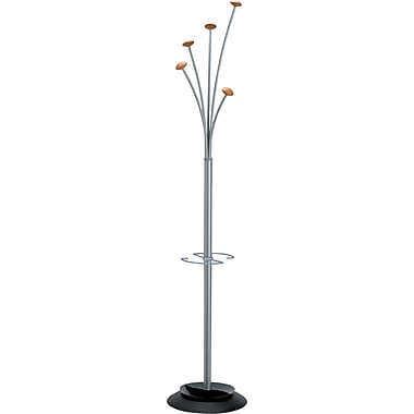 Alba Festival Contemporary Metal / Wood Coat Tree With Umbrella Holder, Gray / Mahogany
