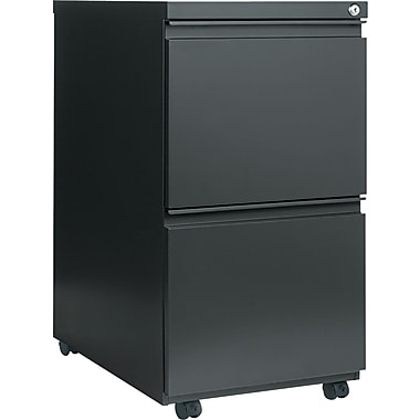 Alera 23in.D 2 Drawer Mobile File Pedestal With Full-Length Pull, Charcoal