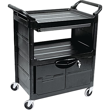 Rubbermaid® 18 5/8in.(D) Commercial Utility Cart With Locking Doors, Black