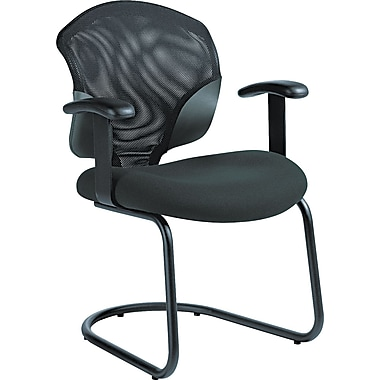 Global Tye Mock Leather Arm Chair With Cantilever Base, Black