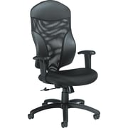 Global Tye Mock-Leather Swivel/Tilt Chair, Adjustable Arm, Black