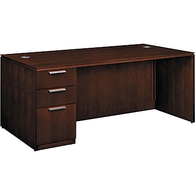 HON® Arrive™ Wood Veneer Base Single Left Pedestal Desk, 29 1/2in.H x 72in.W, Shaker Cherry
