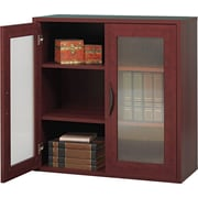 "Safco  Apres Laminated Compressed Wood Two-Door Cabinet, 29 3/4""H x 29 3/4""W, Mahogany"