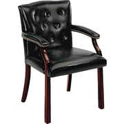 HON® Traditional Wood Seating 6540 Glove-Soft Vinyl Guest Arm Chair, Black