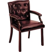 HON ® Traditional Wood Seating 6540 Glove-Soft Vinyl Guest Arm Chair, Oxblood