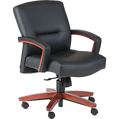 HON ® 5000 Park Avenue Collection ® Vinyl Mid Back Managerial Chair, Henna Cherry/Black