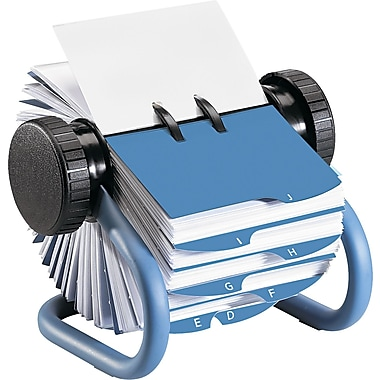 Rolodex 6 7/8in.D Open Rotary Business Card File With 24 Guides, Blue