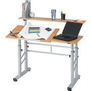 Safco ® 37 1/4in.H x 47 1/4in.W x 29 1/2in.D Height-Adjustable Split Level Workstation, Medium Oak