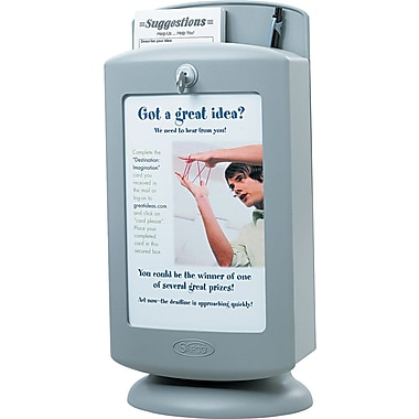 Safco® Customizable Plastic Suggestion Box, 14 1/2in.H x 7in.W x 5in.D, Light Gray