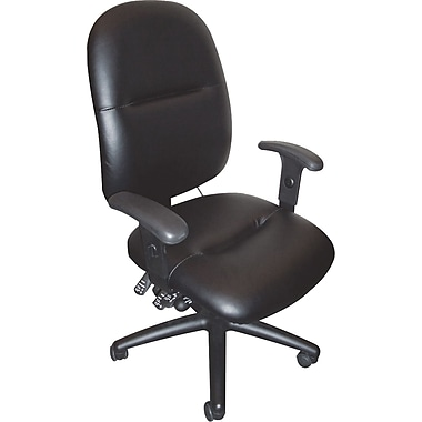 Mayline ® 24-Hour High-Performance Swivel Task Leather Chair, Black