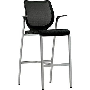 HON® Nucleus® Polyester Cafe-Height Stool, Black ilira-stretch M4 Back, Black Seat
