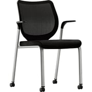 HON® Nucleus® 100% Polyester Multipurpose Stacking Chair, Black Seat, Titanium Base