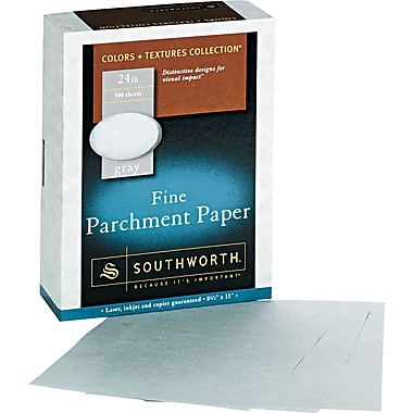 SOUTHWORTH® Parchment Specialty Paper, 8 1/2in. x 11in., 24 lb., Parchment Finish, Gray, 500/Box