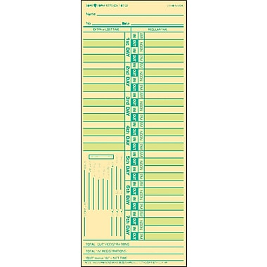Tops Time Card for Lathem, Bi-Weekly, Two-Sided, 3-1/2 x 9, 500/Box