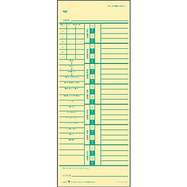 TOPS ® Time Clock Card For Acroprint And Simplex, Weekly, Two-Sided, 3 1/2in.(W) x 9in.(L), 500/Box