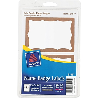 Avery  5146 Printable Self-Adhesive Name Badge Label, Gold Border, 2 11/32in.(W) x 3 3/8in.(L), 100/Pack